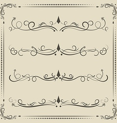 Calligraphic design elements curves and spirals vector