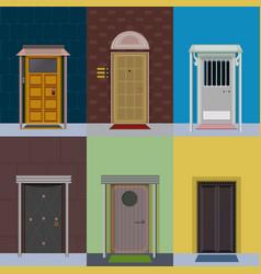 flat colorful elegant entry doors set vector image