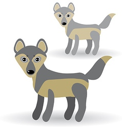 Funny gray wolf on a white background vector image vector image