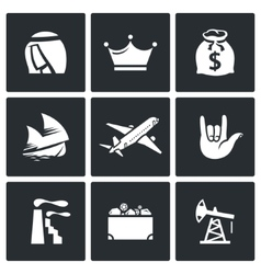 The wealth of Arab sheikhs icons set vector image vector image