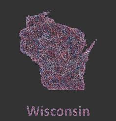 Wisconsin line art map vector