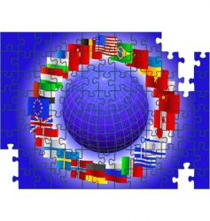 world flags puzzle vector image vector image
