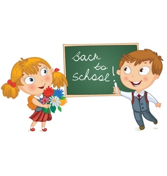Young boy wrote in chalk on blackboard vector image