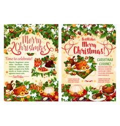 christmas dinner festive banner of winter holidays vector image