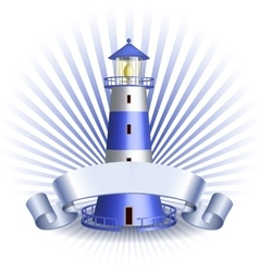 Nautical emblem with blue lighthouse vector
