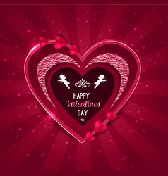 valentines day background heart shape and cupid vector image vector image