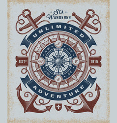 Vintage unlimited adventure typography vector