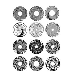 circle design shape set in monochrome drawing vector image vector image