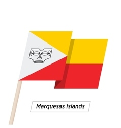 Marquesas Islands Ribbon Waving Flag Isolated on vector image