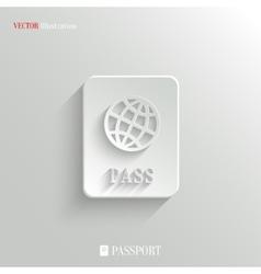 Passport icon - white app button vector image vector image