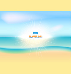 sunny sparkling background with sandy beach and vector image