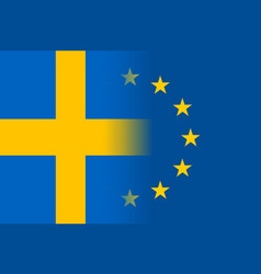 sweden national flag with a star circle of eu vector image