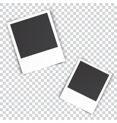 two blank photo pinned on white wall vector image vector image