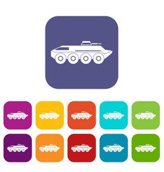 Armored personnel carrier icons set vector