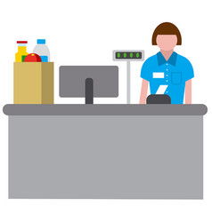 cashbox wth cashier vector image