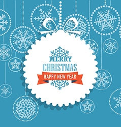 Christmas greeting card with snowflakes on backgro vector image