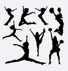 jumping cheerleader action silhouette vector image