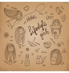 Lifestyle girls retro vector