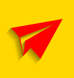 paper airplane sign red icon with soft vector image vector image