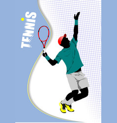 poster tennis player colored for designers vector image vector image
