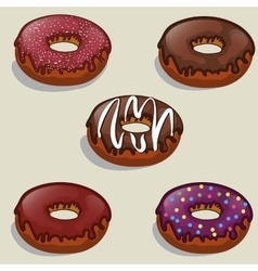 set of tasty donuts with different vector image