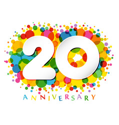 20 years anniversary paper colorful logo vector image