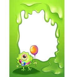 A baby monster with a balloon in front of the vector image