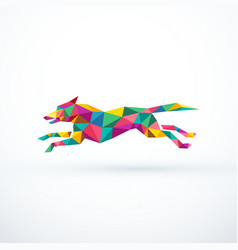 Abstract low poly running dog vector