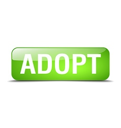 Adopt green square 3d realistic isolated web vector