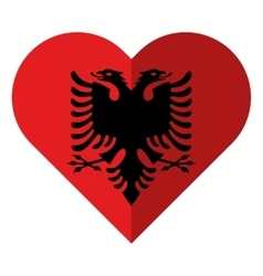 Albania flat heart flag vector