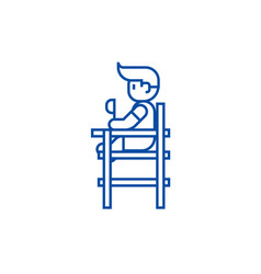 baby boy sitting on high chair line icon concept vector image