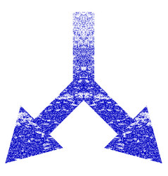 Bifurcation arrow down grunge textured icon vector
