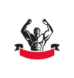 Body Builder Flexing Muscles Banner Retro vector