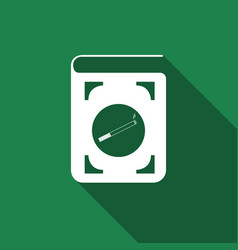 Book icon with cigarette flat icon with long vector