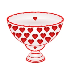Bowl of fruit with red hearts ceramic tableware vector image