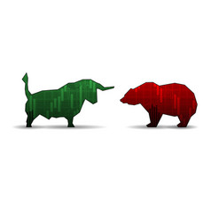 Bull and bear isolated on white background vector