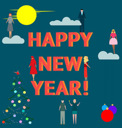 business people celebrate happy new year vector image
