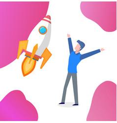 business startup businessman happy worker vector image