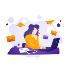 business women sit on laptop check and send emails vector image