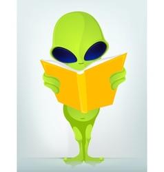 Cartoon Book Reading Alien vector