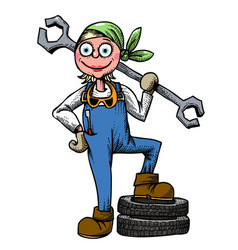 Cartoon image of female mechanic vector