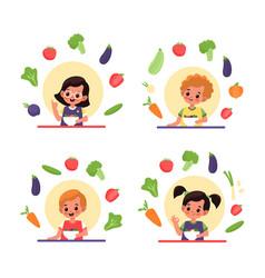 Children eat salad vitamin organic food and vector