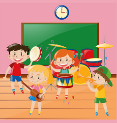 Children playing music in classroom vector