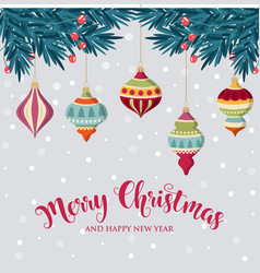 christmas background with hanging balls vector image