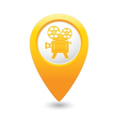 Cinema icon yellow map pointer vector
