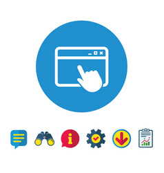 click page icon browser window sign vector image