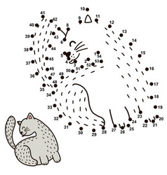 connect the dots and draw a funny cat licking its vector image