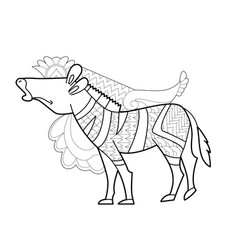 Contour linear with animal for coloring book cute vector
