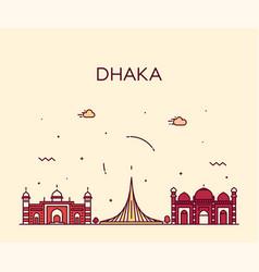 dhaka skyline bangladesh city linear style vector image