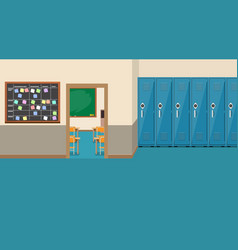 Empty school interioropen door in classroom vector
